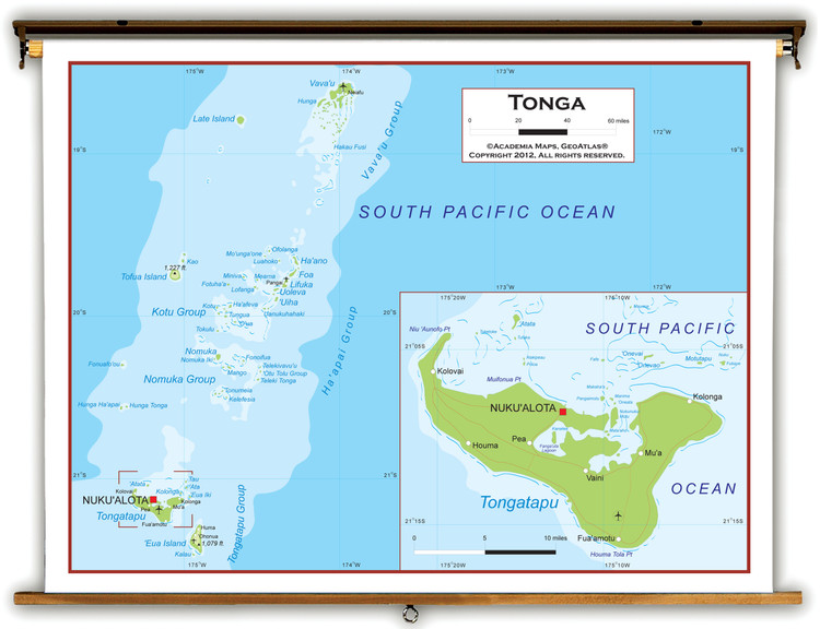 Tonga Physical Educational Map from Academia Maps