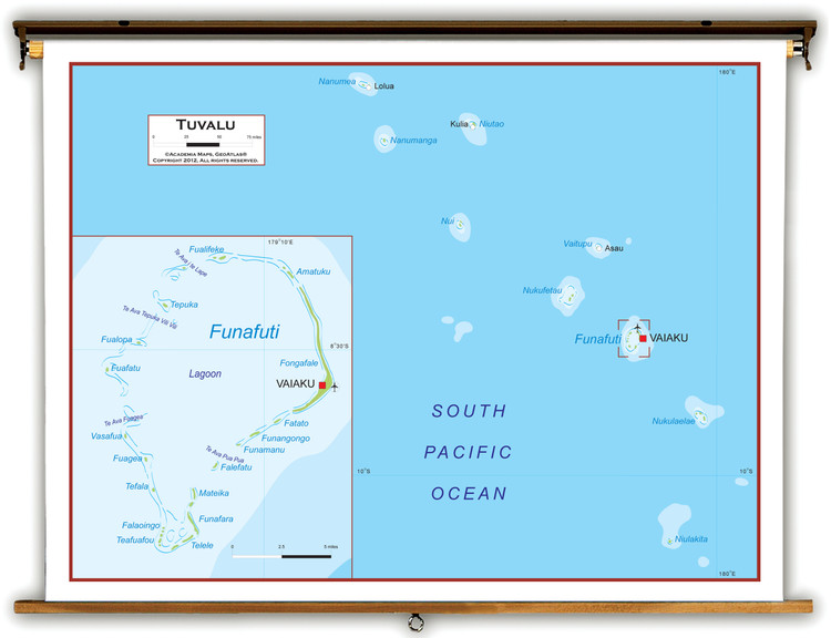 Tuvalu Physical Educational Map from Academia Maps