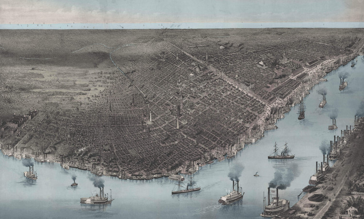 New Orleans - 1885 Birds-Eye View Map w/ Blue Waterways