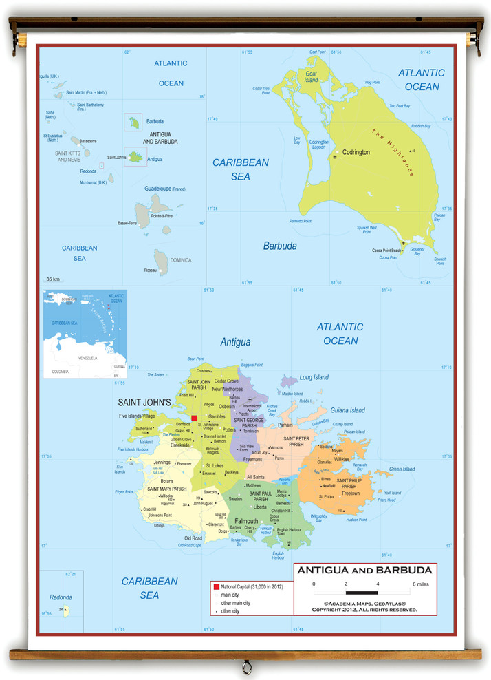 Antigua and Barbuda Political Educational Map from Academia Maps