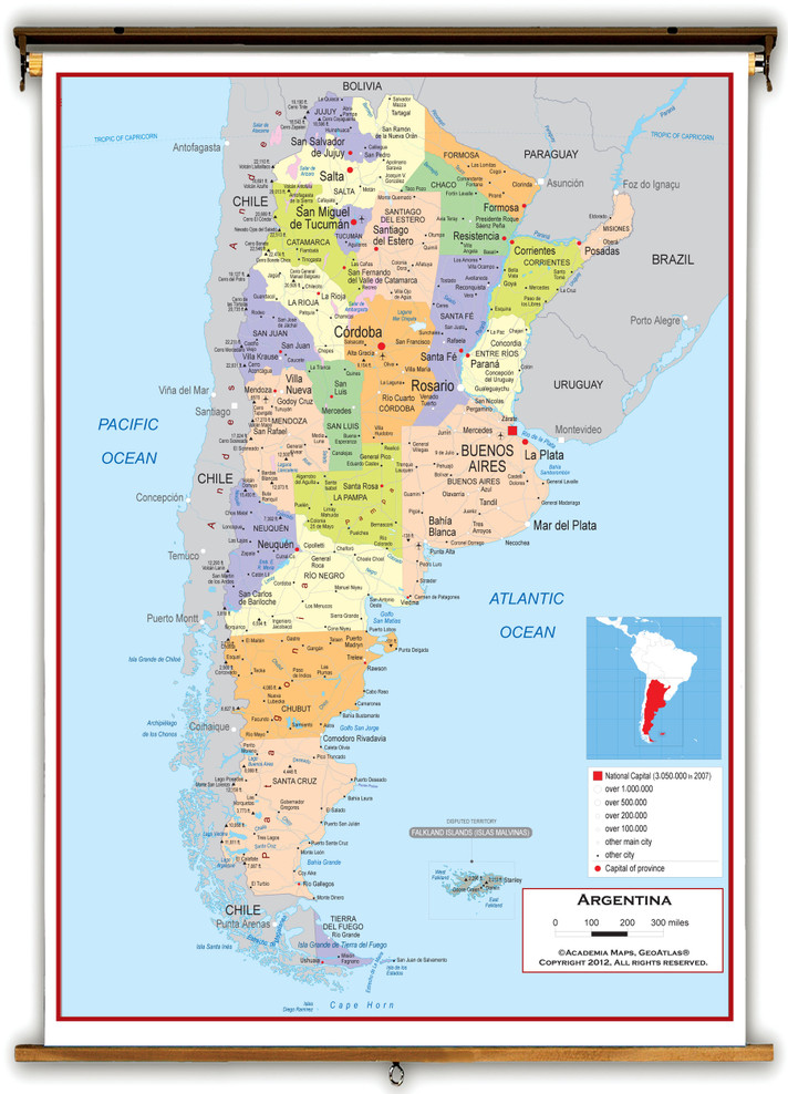 Argentina Political Educational Wall Map from Academia Maps