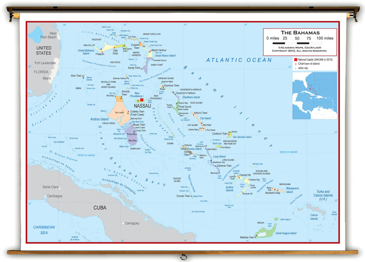 The Bahamas Political Educational Wall Map from Academia Maps