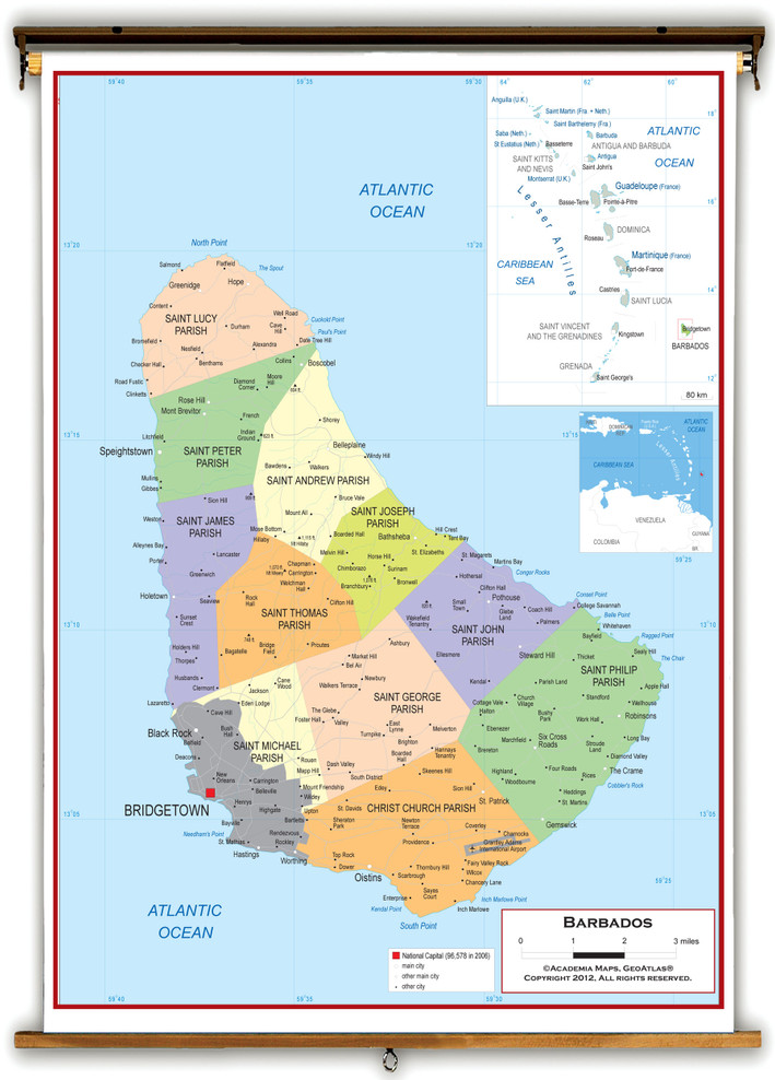 Barbados Political Educational Wall Map from Academia Maps