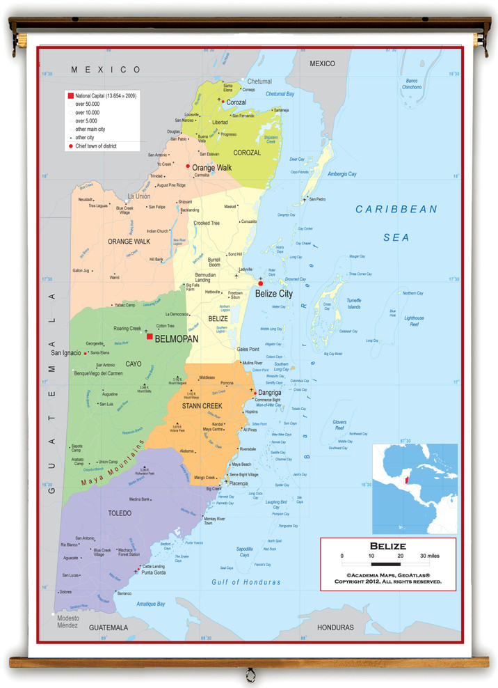 Belize Political Educational Wall Map from Academia Maps