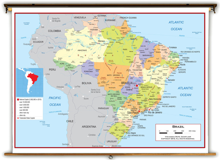 Brazil Political Educational Wall Map from Academia Maps