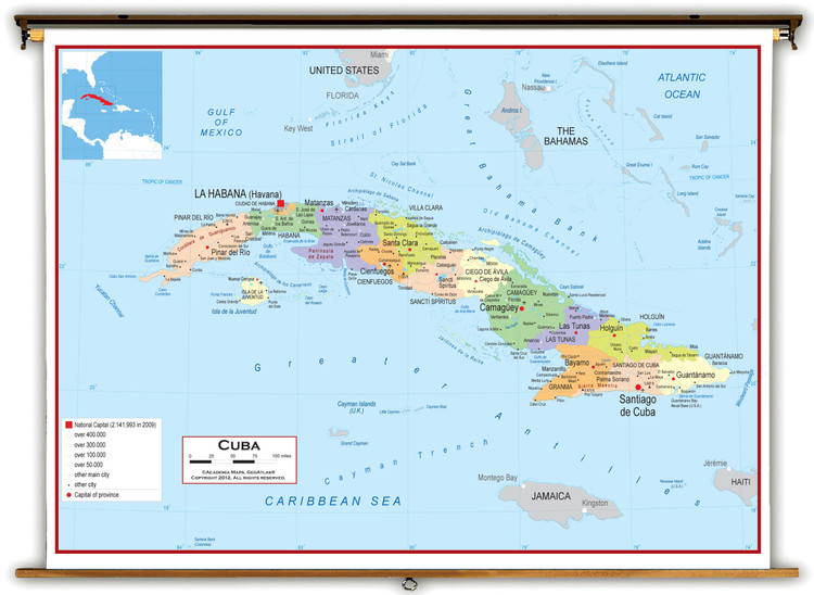 Cuba Political Educational Wall Map from Academia Maps