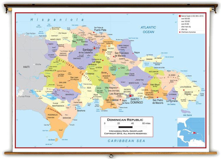 Dominican Republic Political Wall Map from Academia Maps