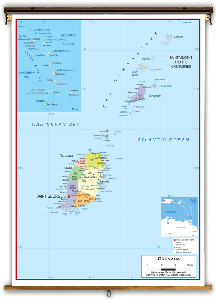 Grenada Political Educational Wall Map from Academia Maps