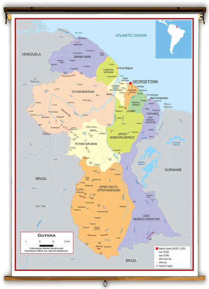 Guyana Political Educational Wall Map from Academia Maps