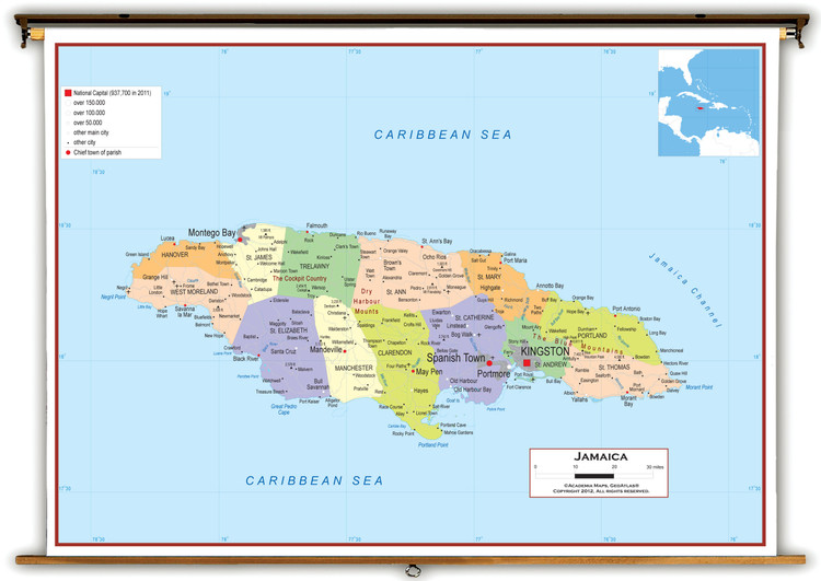 Jamaica Political Educational Wall Map from Academia Maps