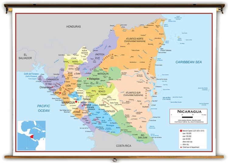 Nicaragua Political Educational Wall Map from Academia Maps