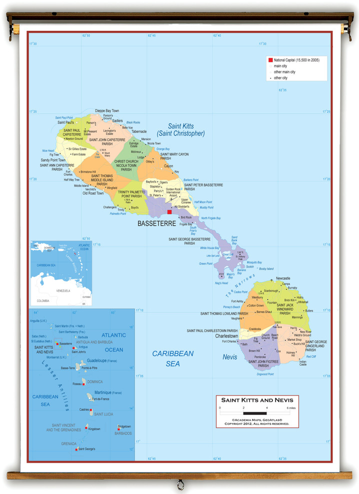 St Kitts and Nevis Political Wall Map from Academia Maps