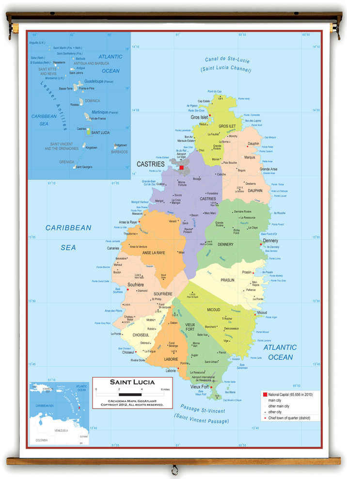 Saint Lucia Political Educational Wall Map from Academia Maps