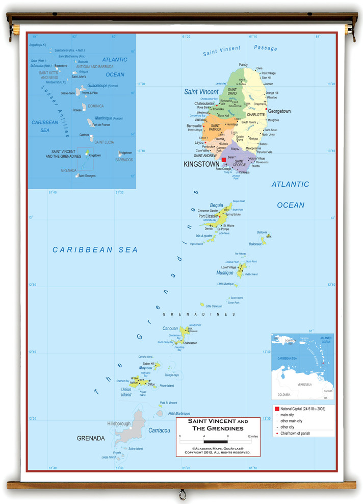 Saint Vincent and The Grenadines Political Wall Map from Academia