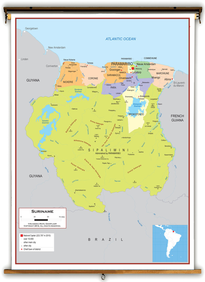 Suriname Political Educational Wall Map from Academia Maps