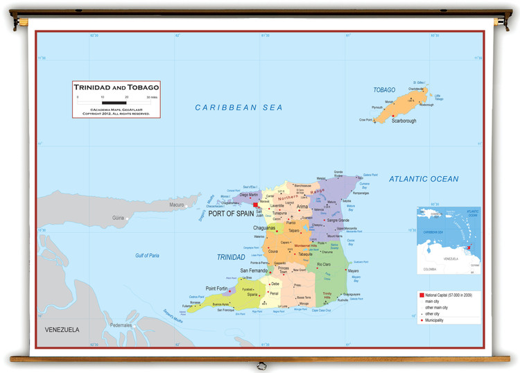 Trinidad and Tobago Political Educational Map from Academia Maps