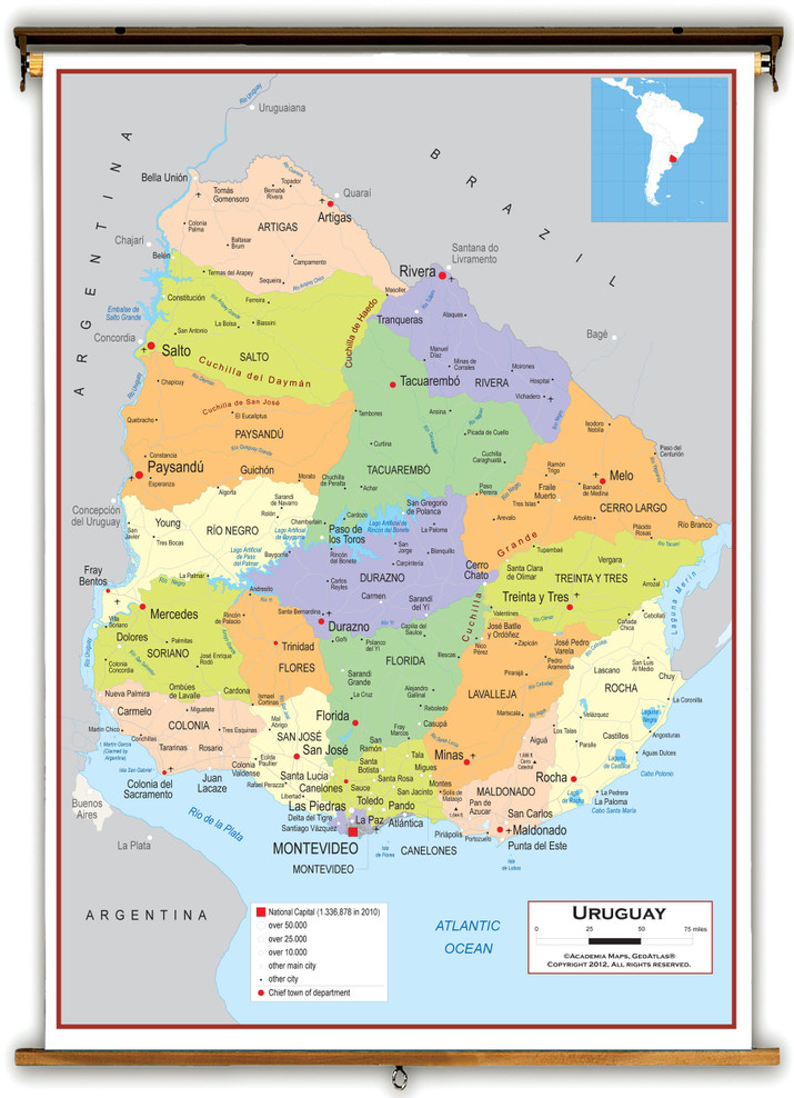 Uruguay Political Educational Wall Map from Academia Maps