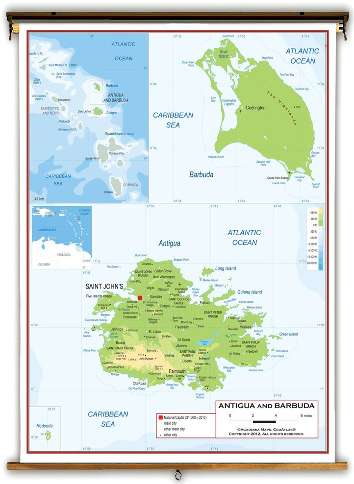 Antigua and Barbuda Physical Educational Map from Academia Maps