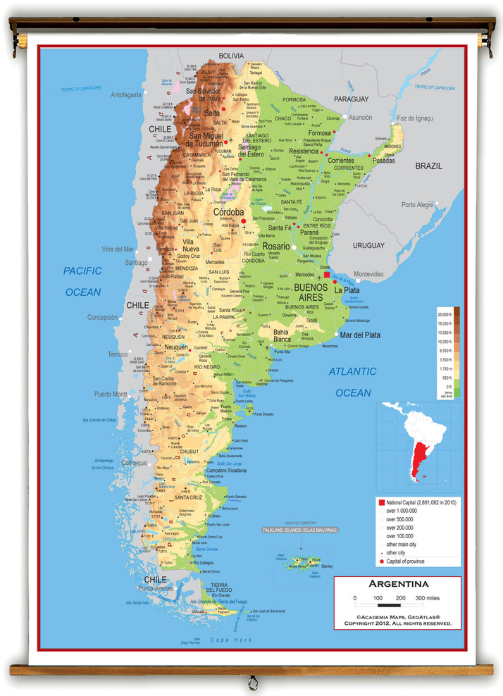 Argentina Physical Educational Wall Map from Academia Maps
