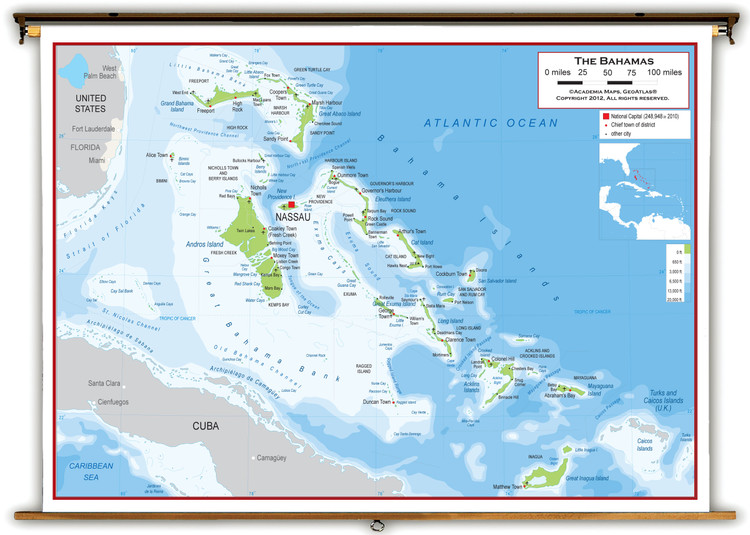 The Bahamas Physical Educational Wall Map from Academia Maps