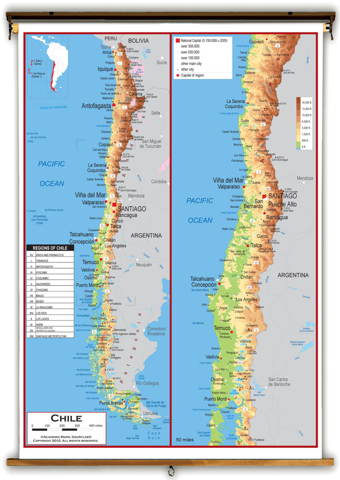 Chile Physical Educational Wall Map from Academia Maps