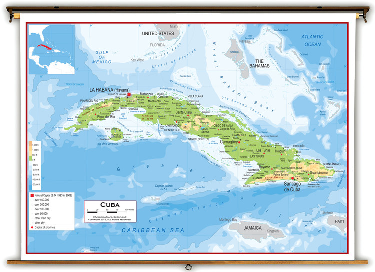 Cuba Physical Educational Wall Map from Academia Maps