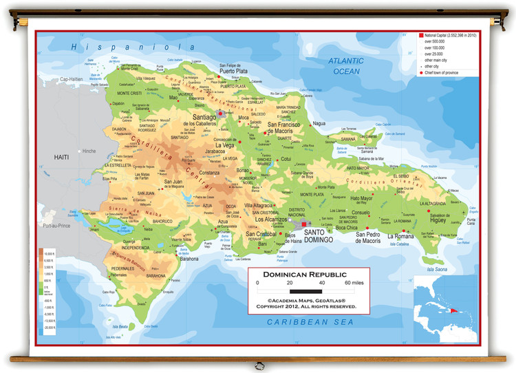 Dominican Republic Physical Wall Map from Academia Maps