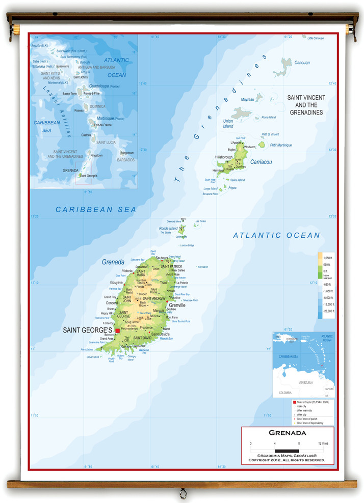 Grenada Physical Educational Wall Map from Academia Maps