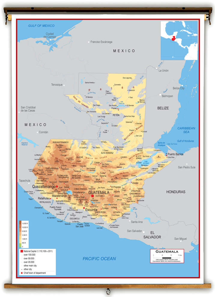 Guatemala Physical Educational Wall Map from Academia Maps