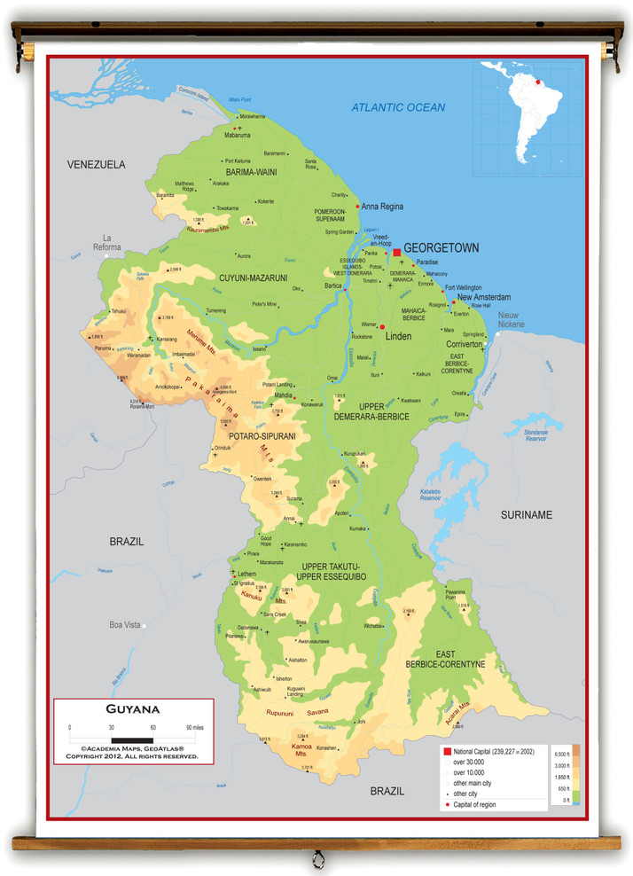 Guyana Physical Educational Wall Map from Academia Maps