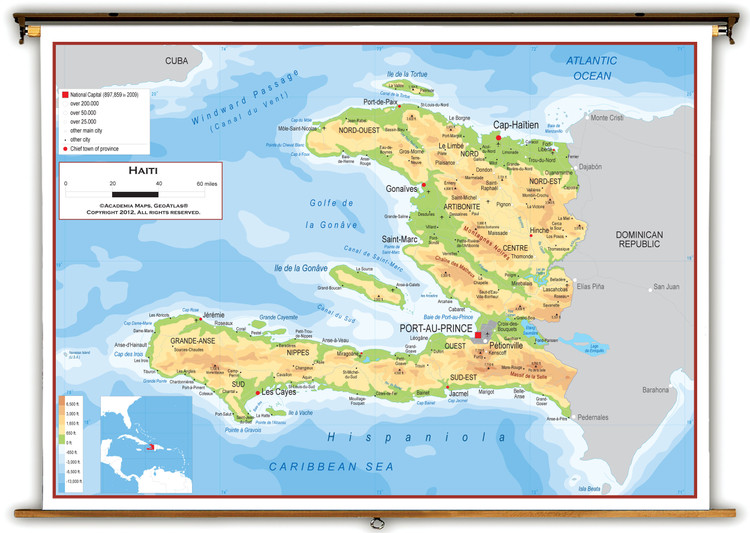 Haiti Physical Educational Wall Map from Academia Maps