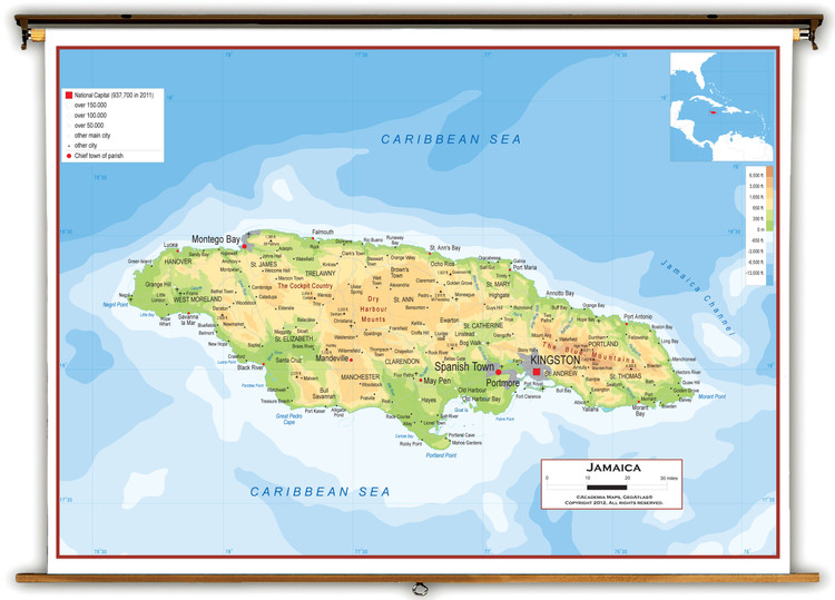Jamaica Physical Educational Wall Map from Academia Maps