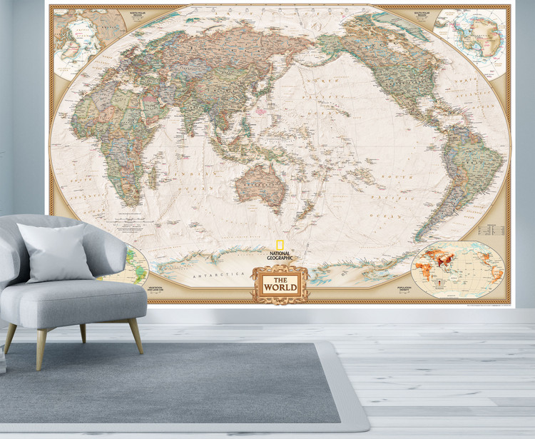 National Geographic World Map Mural - Executive Antique Ocean Political