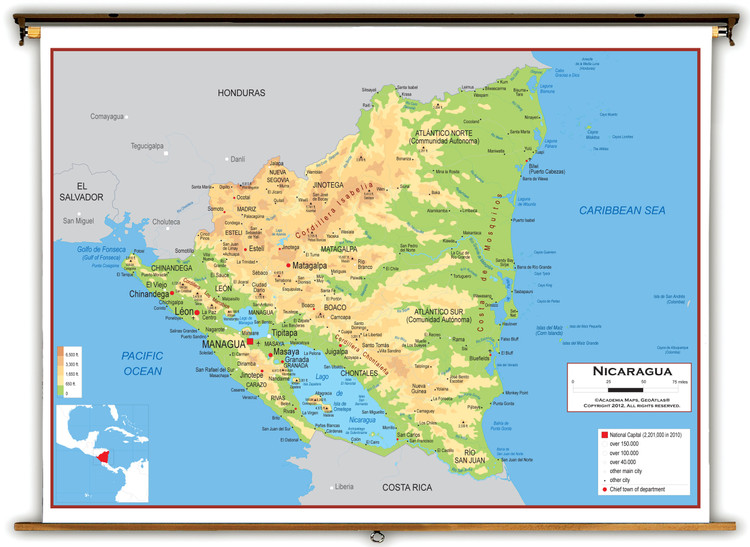 Nicaragua Physical Educational Wall Map from Academia Maps