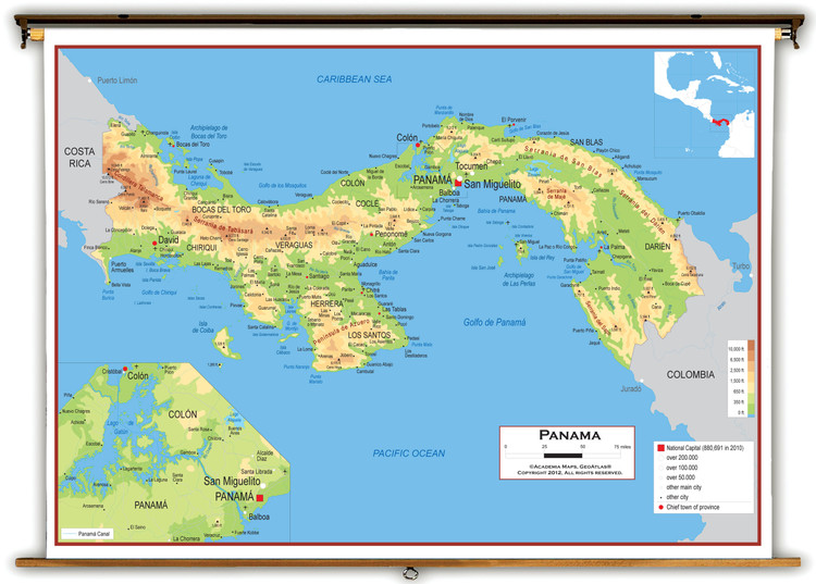 Panama Physical Educational Wall Map from Academia Maps