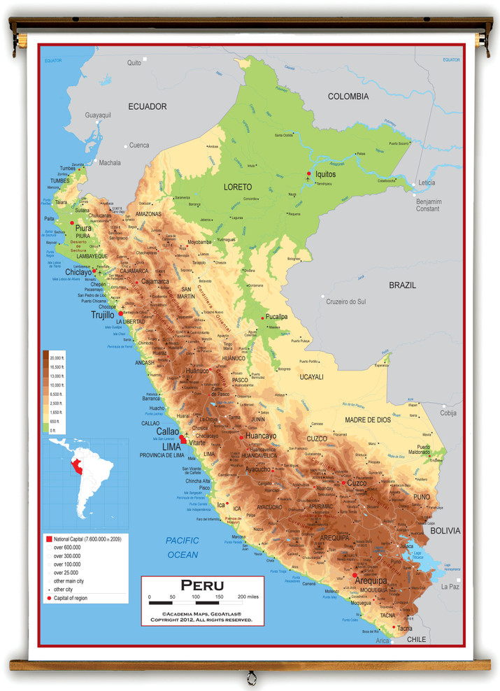 Peru Physical Educational Wall Map from Academia Maps