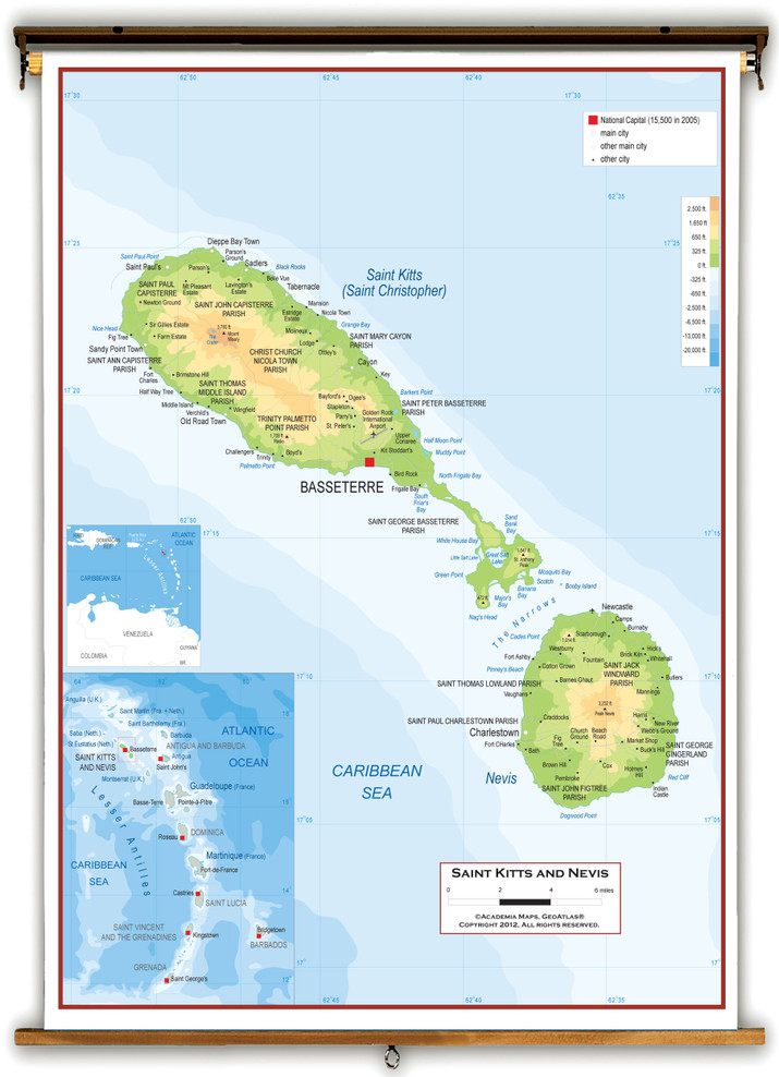 St Kitts and Nevis Physical Wall Map from Academia Maps