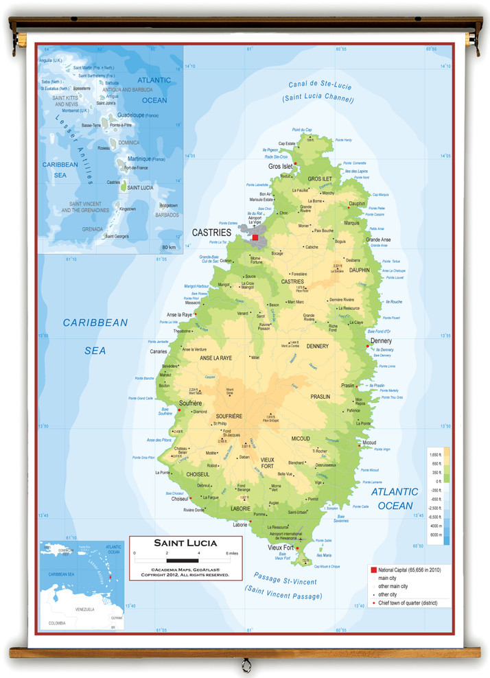 Saint Lucia Physical Educational Wall Map from Academia Maps