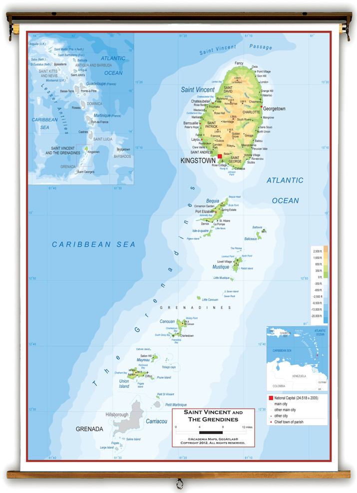 Saint Vincent and The Grenadines Physical Wall Map from Academia