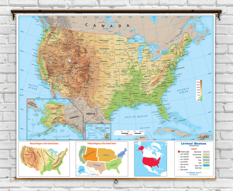 United States Intermediate Physical Classroom Spring Roller Map