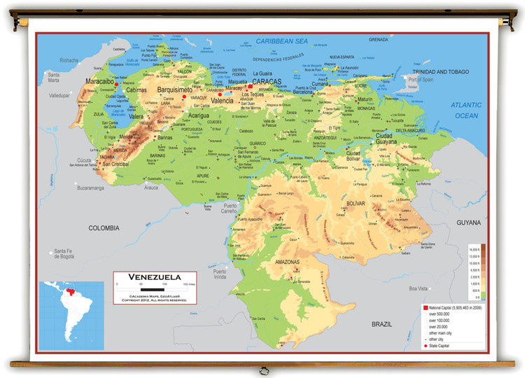 Venezuela Physical Educational Wall Map from Academia Maps