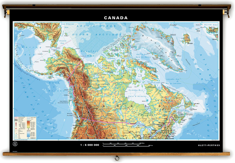 Canada & World Dual Sided Physical Map on Spring Roller