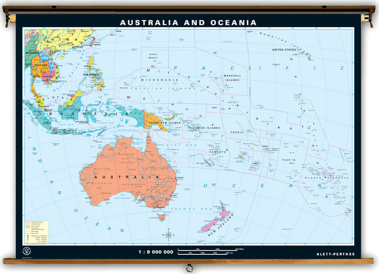 Australia Dual Sided Political & Physical Map on Spring Roller