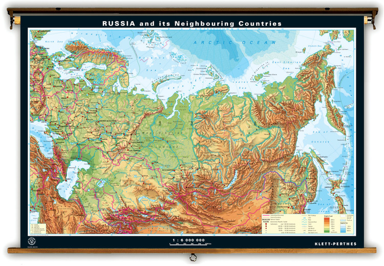 Russia & Neighboring Countries Dual-Sided Physical & Outline Map