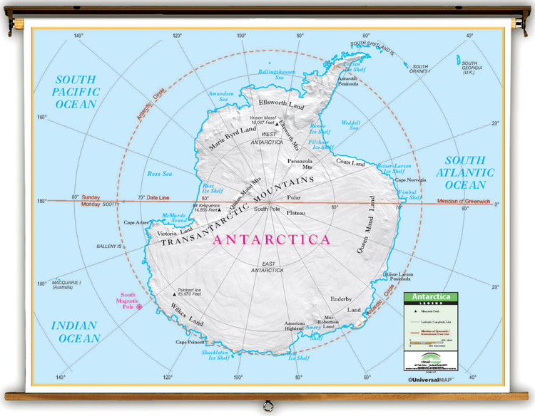 Primary Antarctica Map on Spring Roller from Kappa Maps