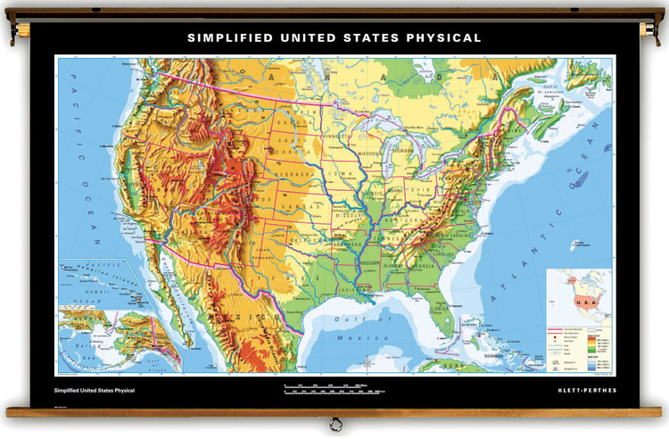 Simplified U.S. Physical Map on Spring Roller from Klett-Perthes