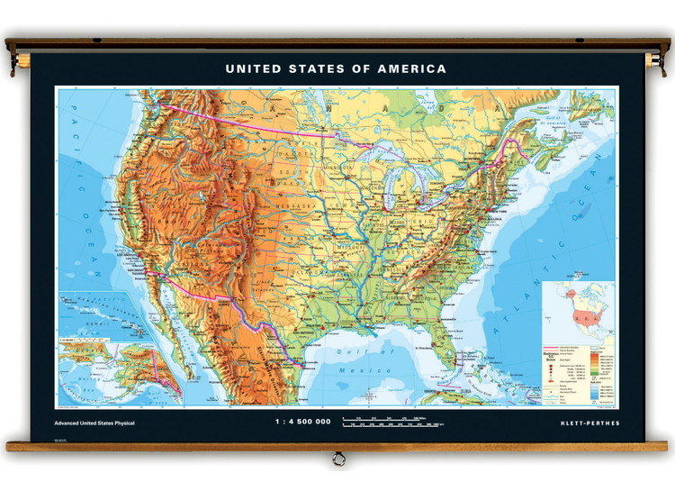 Advanced U.S. Physical Map on Spring Roller from Klett-Perthes
