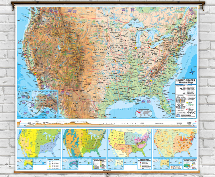 Advanced U.S. Physical Map on Spring Roller from Kappa Maps