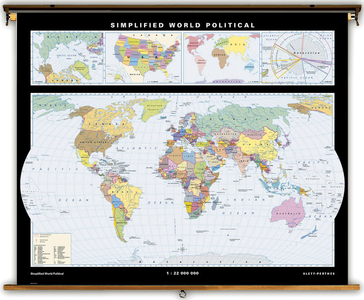 Simplified World Political Map on Spring Roller from Klett-Perthes