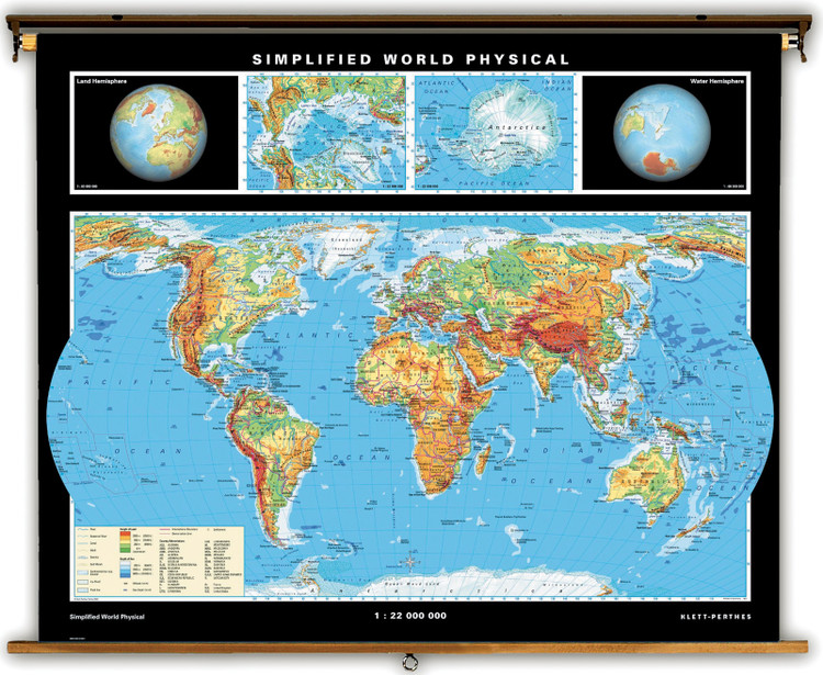 Simplified World Physical Map on Spring Roller from Klett-Perthes